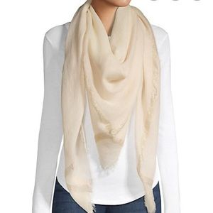 Bindya Cream Viscose fringe Scarf / wrap shawl
